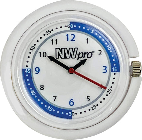 NW-pro Stethoscope Clip Style Nurse Watch with Second Hand & 24 Hour Dial - White
