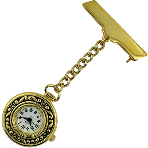 Pin-on Nurse Watch - JAS - Metal Patterned - Gold