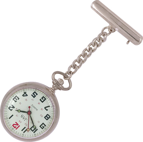 Pin-on Nurse Watch - JAS - Metal Large Dial - Silver