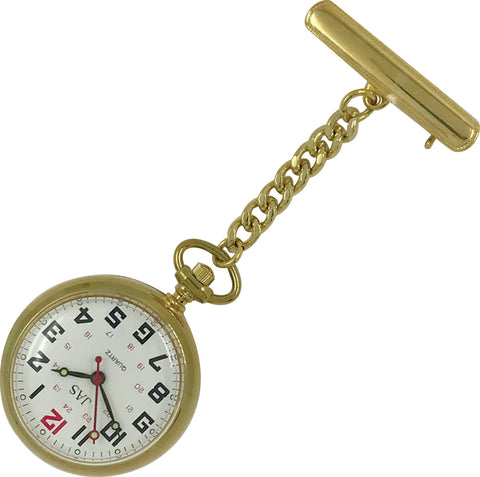 Pin-on Nurse Watch - JAS - Metal Large Dial - Gold