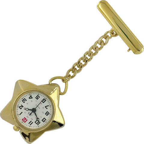 Pin-on Nurse Watch - JAS - Metal Star - Gold