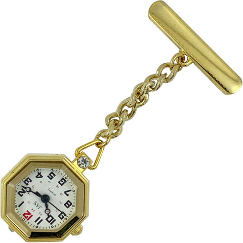 Pin-on Nurse Watch - JAS - Metal Octogon - Gold