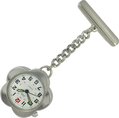 Pin-on Nurse Watch - JAS - Metal Flower - Silver