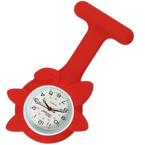 Flower Silicone Pin-On Nurse Watch - Red