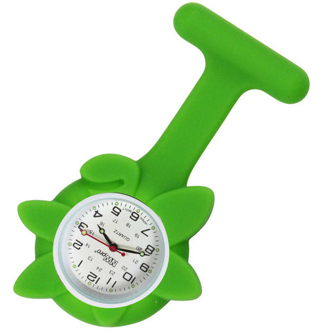 Flower Silicone Pin-On Nurse Watch - Lime Green