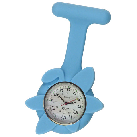 Flower Silicone Pin-on Nurse Watch - Light Blue