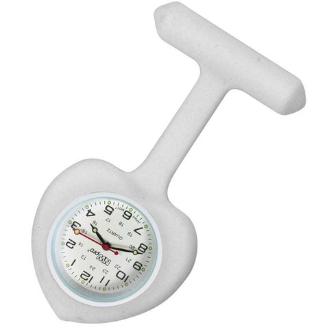 Heart Silicone Pin-On Nurse Watch - White