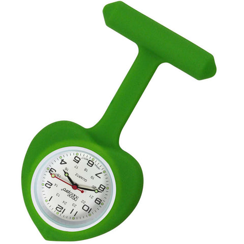 Heart Silicone Pin-On Nurse Watch - Lime Green