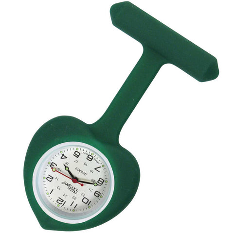 Heart Silicone Pin-On Nurse Watch - Forest Green