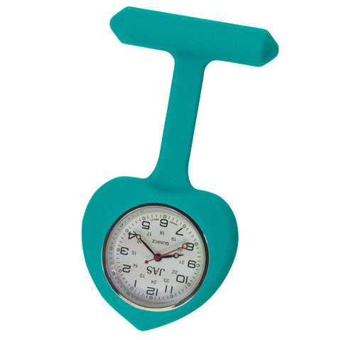 Heart Silicone Pin-On Nurse Watch - Teal