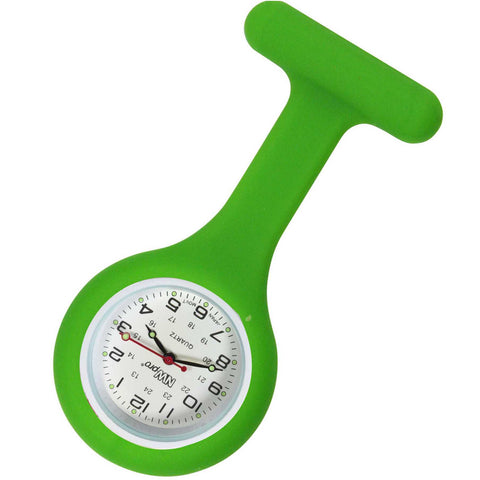 Silicone Pin-on Nurse Watch - Round Lime Green