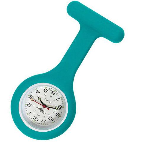 Silicone Pin-on Nurse Watch - Round Teal Blue