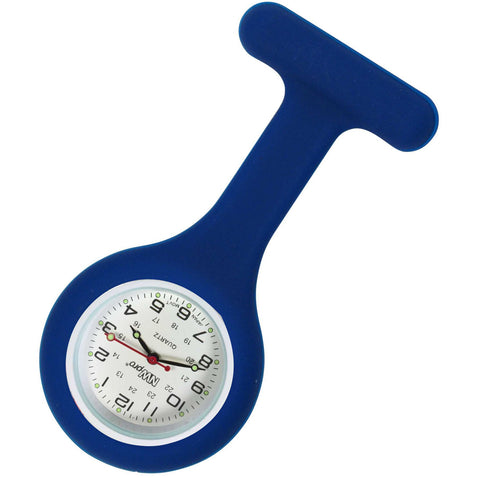 Silicone Pin-on Nurse Watch - Round Navy Blue