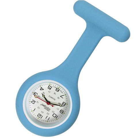 Silicone Pin-on Nurse Watch - Round Light Blue