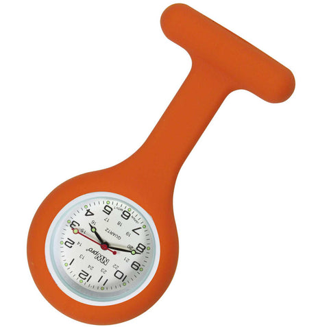 Silicone Pin-on Nurse Watch - Round Tangerine Orange