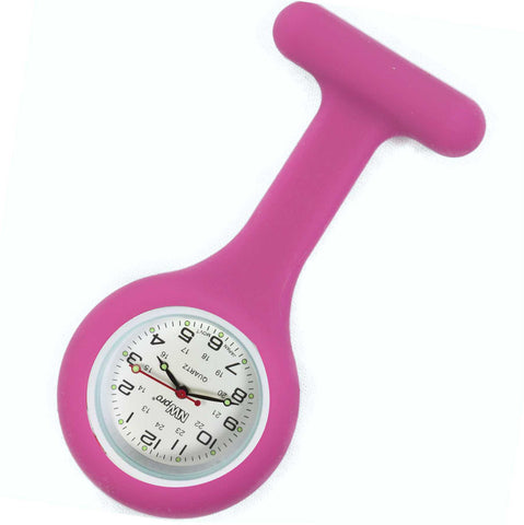 Silicone Pin-on Nurse Watch - Round Fuschia