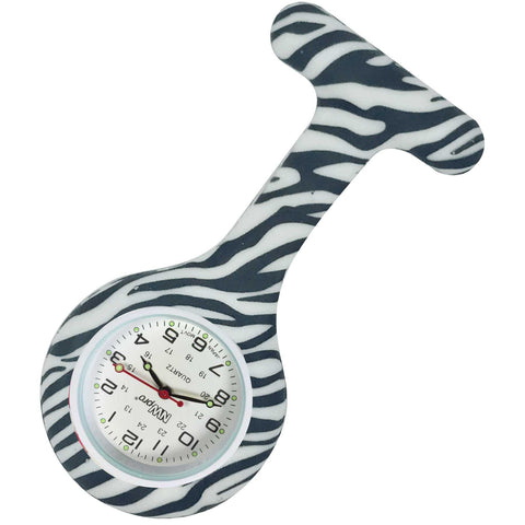 Silicone Pin-on Nurse Watch - Zebra