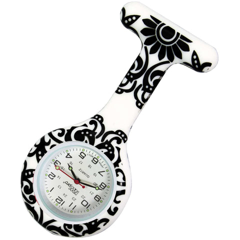 Silicone Pin-on Nurse Watch - Brocade Black
