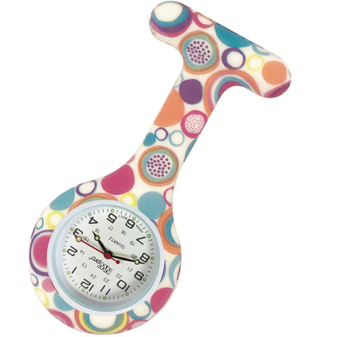 Silicone Pin-on Nurse Watch - Swirls