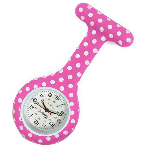 Silicone Pin-on Nurse Watch - Polka Dot Fuschia