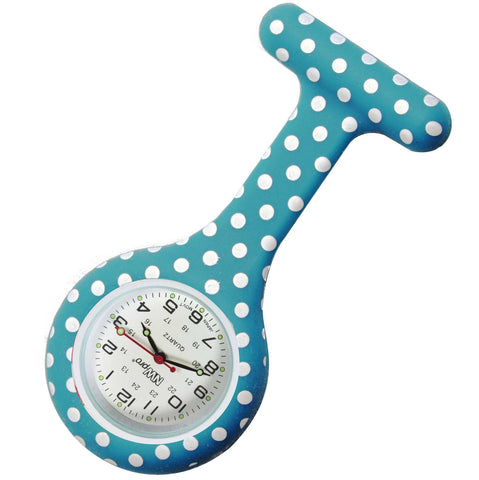 Silicone Pin-on Nurse Watch - Polka Dot Teal