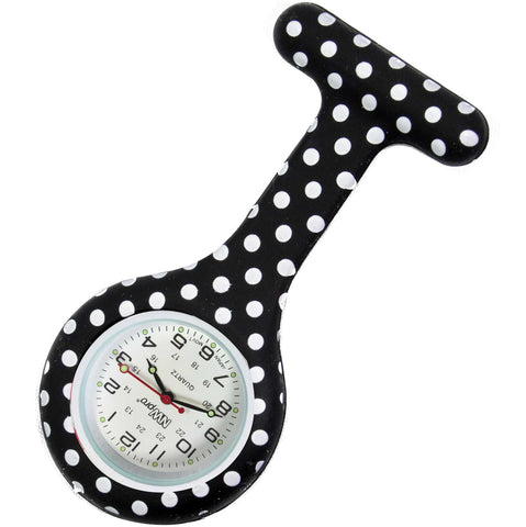 Silicone Pin-on Nurse Watch - Polka Dot Black