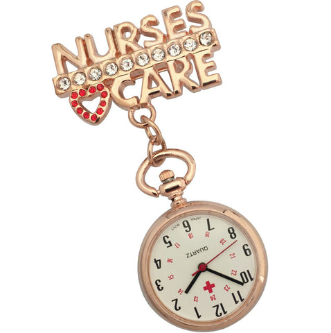 Metallic Pin-on Nurse Watch - Nurses Care - Rose Gold Tone