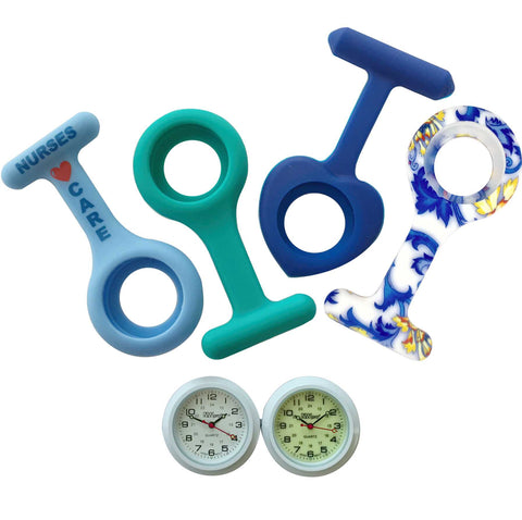 Nurses Lapel Watch Silicone (Infection Control) 4 Pack - The Blues