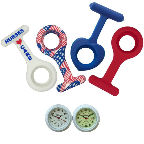 Nurses Lapel Watch Silicone (Infection Control) 4 Pack - Red, White & Blue Collection