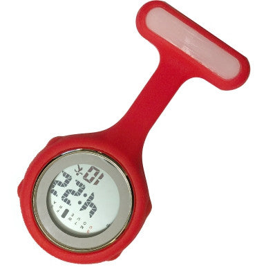 Silicone Pin-on Nurse Watch - Digital Red