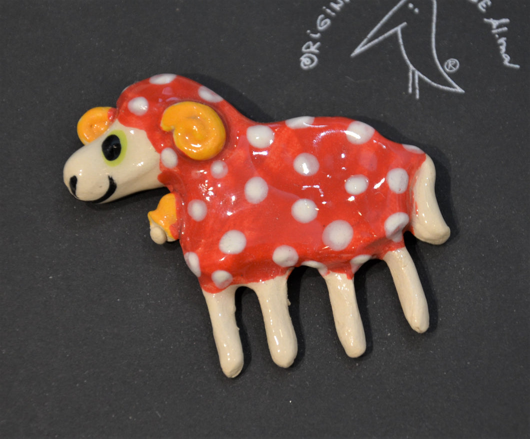 Ceramic brooch - sheep