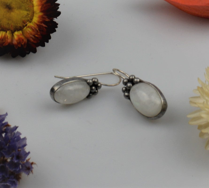 Silver earrings with moon stone