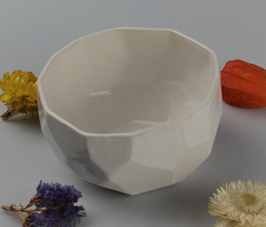 Small cubist bowl - white