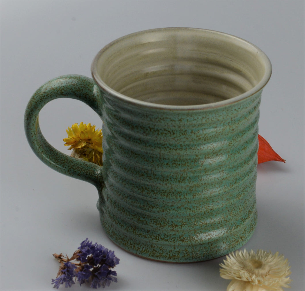 Extra large ceramic cup - spotted green