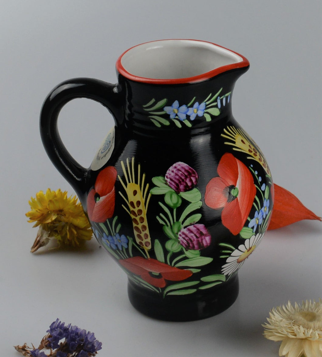 Small jug from traditionnal czech ceramic - black