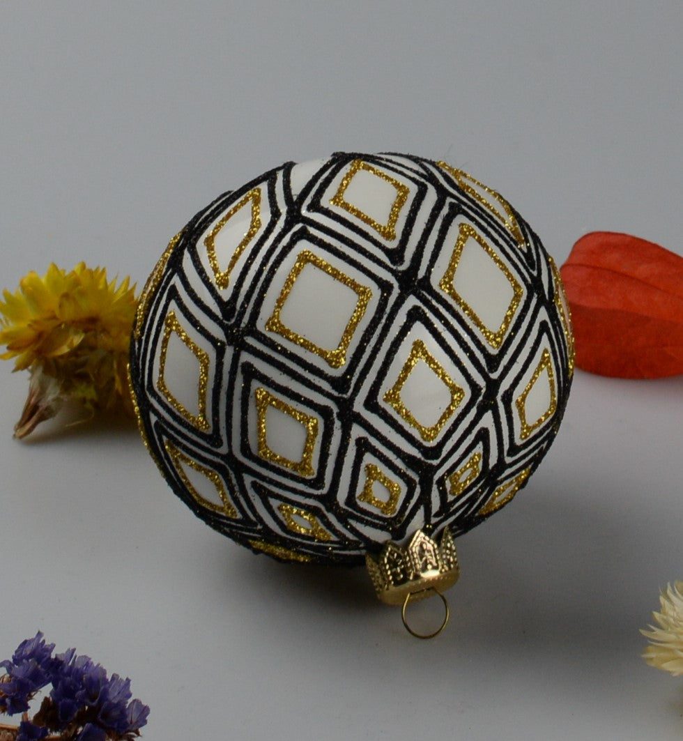 Handmade Christmas ball - blue and gold