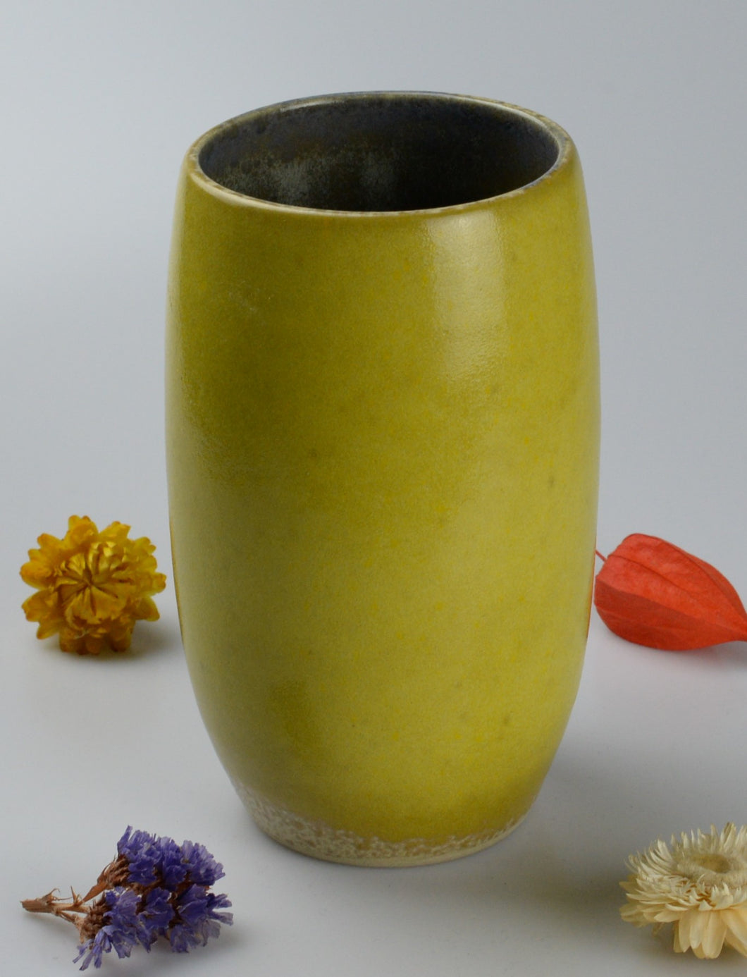 Unique ceramic vase - yellow
