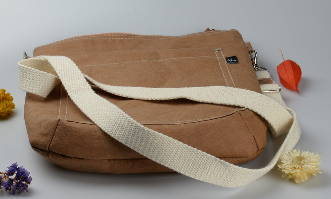 Kraft tex handbag with cotton strap