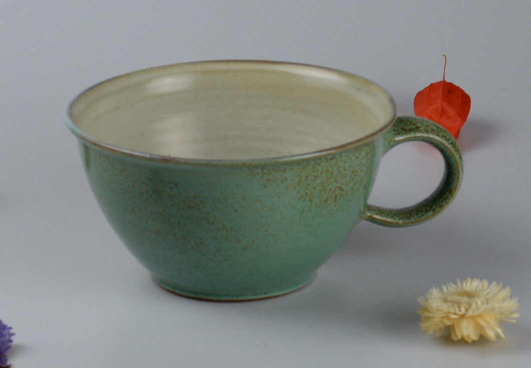 Large ceramic cup - spotted green