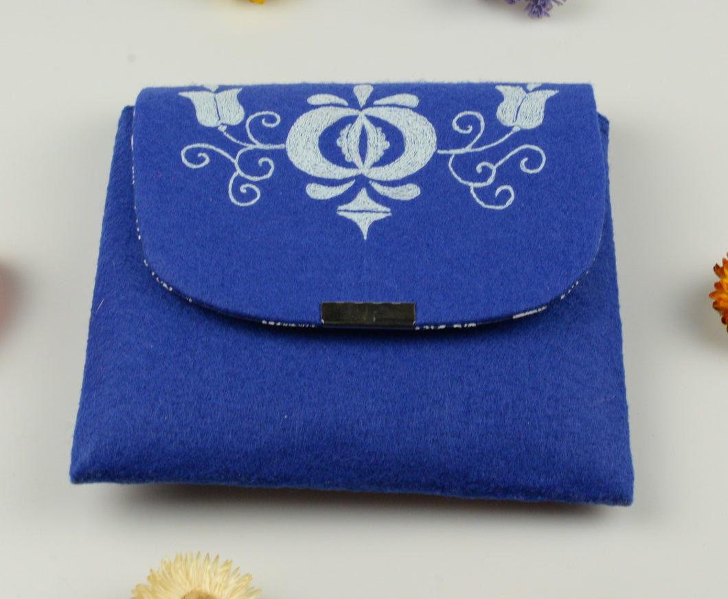 Moravian folk cosmetic bag - blue