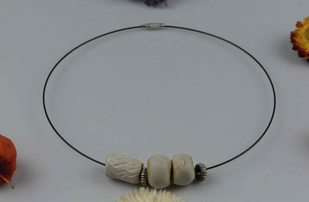 Necklace from ceramic pieces