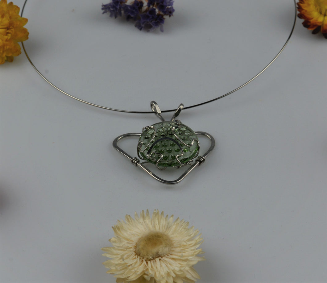 Necklace brushed piece of glass