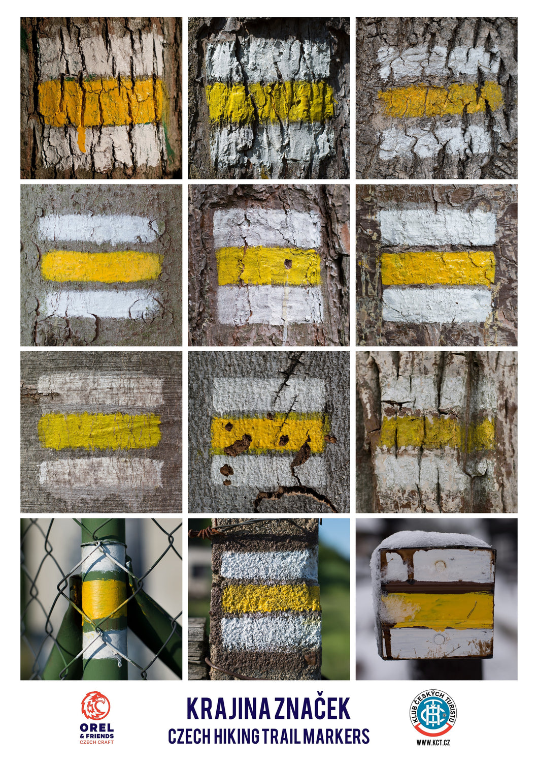 Hiking trail markers poster - yellow