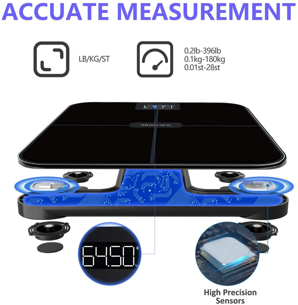Charger l'image dans la galerie, Sinocare Digital Bathroom Scales Weighing Scale with Smart App