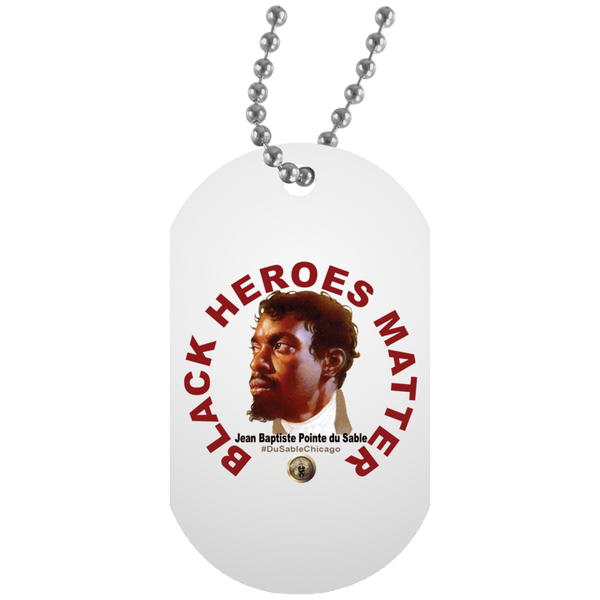 Black Heroes Matter White Dog Tag