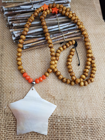 Collier FAFA étoile et perles orange