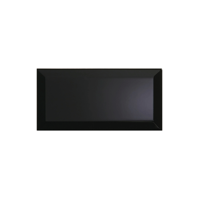 Bevelled Black Gloss 10x30 cm