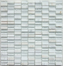 Load image into Gallery viewer, Santon White Glass & Stone Mix Linear Mosaic - Wall Tile - 30 x 28.7 cm
