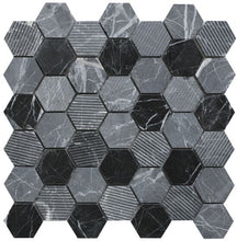 Load image into Gallery viewer, Midnight Stone Hexagon Mixed Finish Marble Mosaic - Wall Tile - 30 x 30 cm