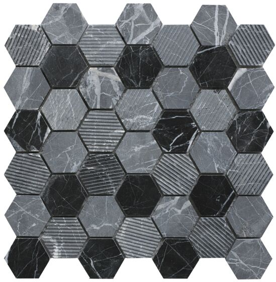 Midnight Stone Hexagon Mixed Finish Marble Mosaic - Wall Tile - 30 x 30 cm
